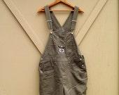 90s vintage R.V.T. Dark Army Green Short Bib Overalls