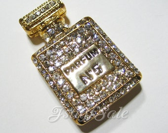 Perfume bottle shaped charm (PARFUM No.5) Gold