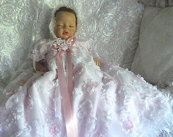 REBORN BABY Victorian Embroidered Raised Roses Pink Blush GOWN  size 0-3 month