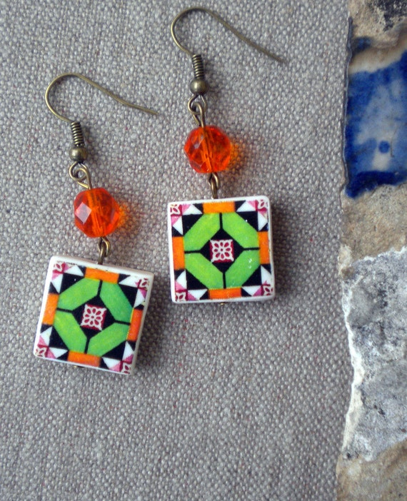 AntiqueTile Replica Earrings from OVAR Portugal - Green Orange Geometric  (see photo of actual Facade)  Waterproof - reversible 267