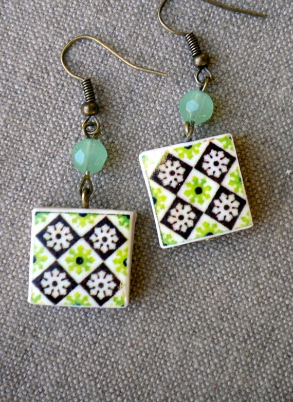 Portugal Antique Azulejo Tile  Replica Earrings from Porto- Ribeira GREEN - waterproof and reversible 631