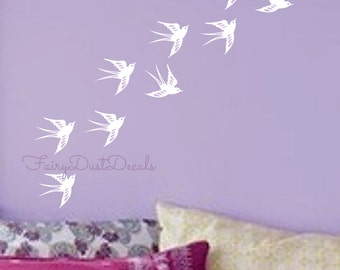 Bird Wall Decals set of 10 Barn Swallow Bird Decal Bird Wall Decal Bird sparrow bird bird wall decal bird wall sticker Nursery Decals Birds