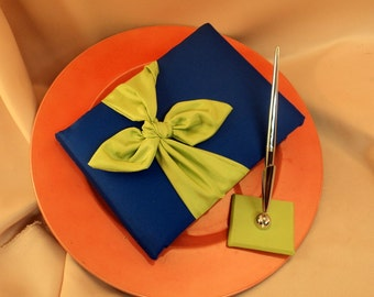 Knottie Style Satin Guest Book...You Choose The Colors..Shown in royal blue cobalt/green apple