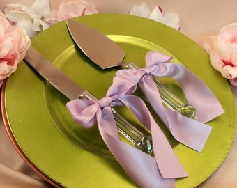 Custom Colors Cake Server Set ..You Choose The Bow Colors..shown in lilac purple