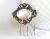 H137 Vintage Upcycled Clear Oval Rhinestone Hair Comb
