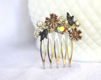 H162 Vintage Brown Tan Flower Crystal AB Rhinestone Hair Comb