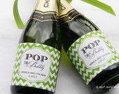 Pop the Bubbly // Mini Champagne Bottle Labels //  Custom Wine Labels // Wedding or Bridal Shower