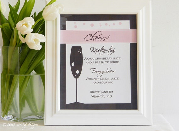 Reception Print - Cheers Signature Drink Menu // Champagne Glass and Bubbles