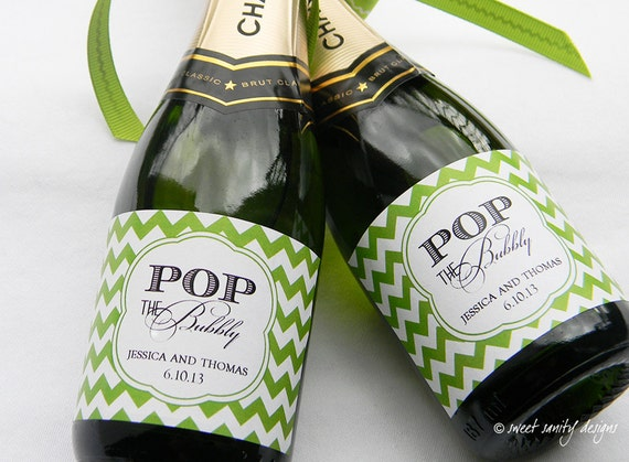 Pop The Bubbly Mini Champagne Bottle Labels Custom Wine