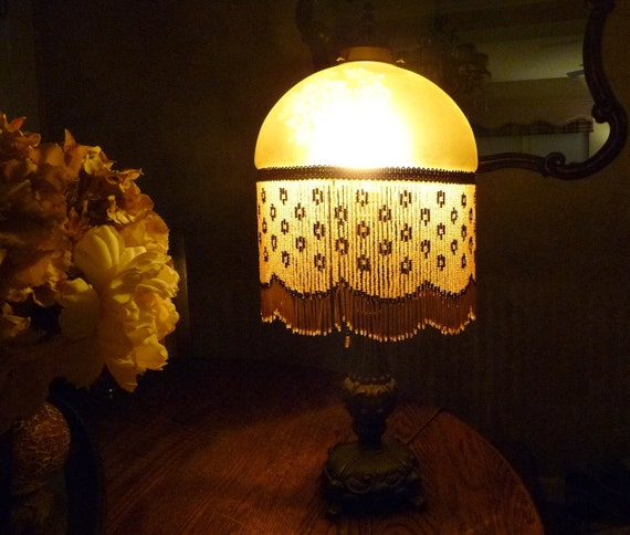 Etched Metal Lamp Shade: Vintage Victorian Table Lamp Gold Etched Glass Beaded Shade