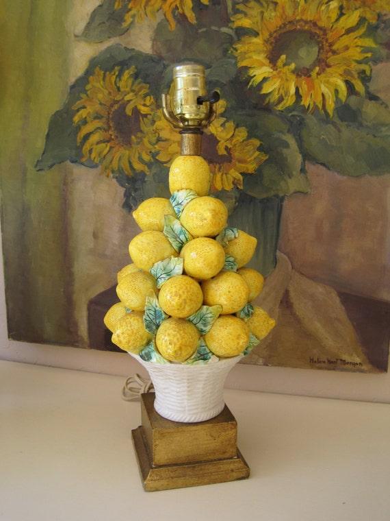 Vintage Art Pottery Lamp Italian Lemon Topiary Majolica Hand