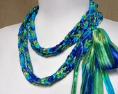 Lariat in Variegated Purple, Lime Green, Dark Lime Green and Teal Ribbon Ready To Ship Long Skinny Scarf Multicolor Crochet Necklace Jewelry