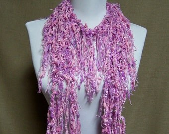 Fringe Binge Scarf Necklace Sparkle Mauve Pink Ready to Ship Infinity Scarf Circle Scarf Knotted Scarf Crochet Scarf Knotted Scarf Shredded