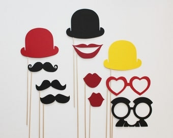 Circus Photo Booth Props - 11 piece set - Birthdays, Weddings, Parties - Photobooth Props