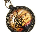 Tree silhouette pendant photo necklace, fall photo jewelry, glass antique brass plated pendant, new zealand art, autumn brown toned jewelry