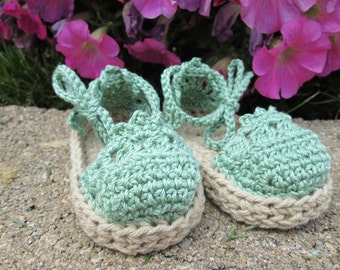 Baby Espadrille Sandals green cotton booties