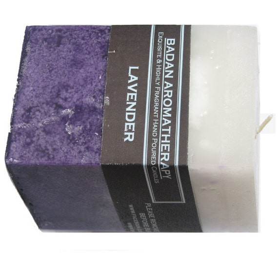 Pure Lavender Pillar Candles with  Natural Essential Oils Square Purple Candles, 3x4.5 Medium