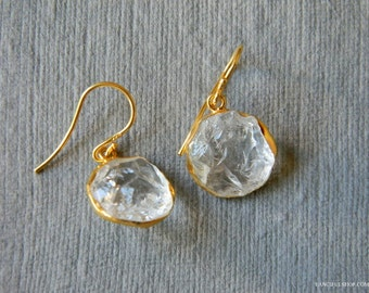 SALE Raw Crystal Quartz Earrings
