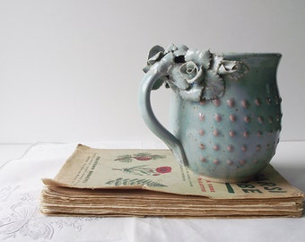 Stoneware Tea Cup  with roses Handmade Ceramics  - Stoneware  - light blue - mug