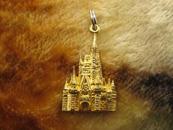 Charm - Pendant - Sterling Silver - Vermeil - Walt Disney - Golden Castle - Souvenir Charm - Travelers - Vacation Charm