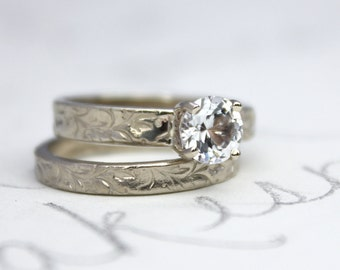 custom white sapphire engagement ring wedding band set . recycled 14k white gold band . prong setting . personalized custom ring