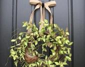 Spring Wreaths,Wreaths,Burlap Bow, Bird Nest Decor, Year Round Wreaths, Twoinspireyou, Etsy Wreaths, Mother's Day, Handmade Wreaths