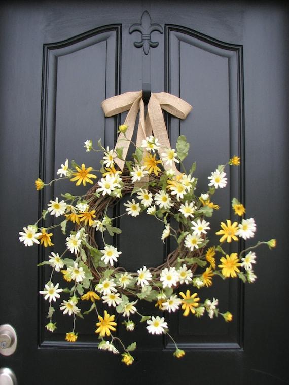 Spring Wreath, Summer Wreaths, Daisies, Daisy Wreath, Etsy ...