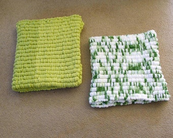 FREE MINI BLANKET with purchase of Hand Knitted - Greens or Lime Green Pom Pom Blanket