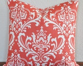 One Damask Coral and White Decorative Pillow Cover 20x20 Invisible Zipper Accent Pillow