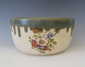 Vintage Style Bowl.  Cottage Garden Flowers.  Mixed Bouquet.  Olive Green, Creamy White, Pink, Blue, Orange, Yellow