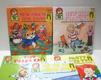 Childrens Books 5 Color Illustrations for Repurpose Inspiration Collage Pack Upcycle Scrap Collectible Vintage Lot School Cats Travel Animal