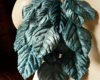 Turquoise Teal Velvet Leaves for Bridal, Millinery, Costume Design, Crafts ML 5