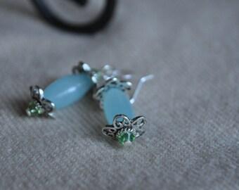 Smoky Blue Glass Dangle with Swarovski Crystals