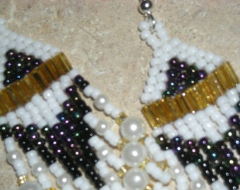 Seed Bead Earrings, White/gold/black/gunmetal