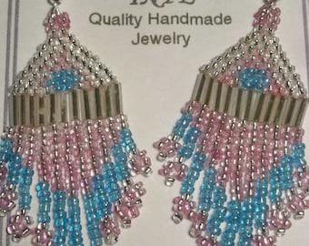 Pink/Blue/Silver Beaded Earrings