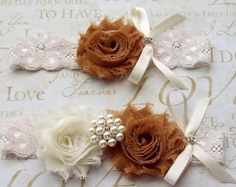 Wedding Garter,Camel Garter,Camel Garter,Bridal Garter Set,Lace Garter Set,Ivory Garter