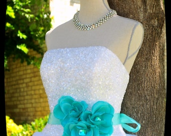 Aqua Sash,Flower Sash,Wedding Accessories,Aqua Wedding