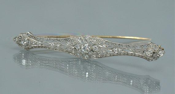 Victorian 14K White Gold Pin Filigree Diamonds Bar Brooch