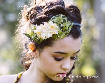 Flower Crown Headband Lace and Flowers Spring Headband, Wedding hair, Bridesmaid Headband Boho Festival Headband