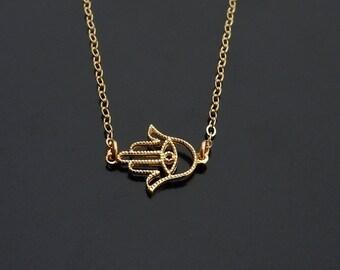 Hamsa Evil Eye Necklace in Gold