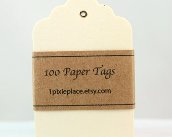 100 Paper Tags - Creme, Ivory color