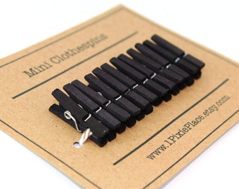 Mini Clothespins - Set of 12 - Jet Black