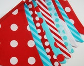 Turquoise and Red Birthday Decorations, Baby Boy Shower Party Fabric Flags - Red, Aqua, Teal, White Bunting Banner -- Cloth Pennant