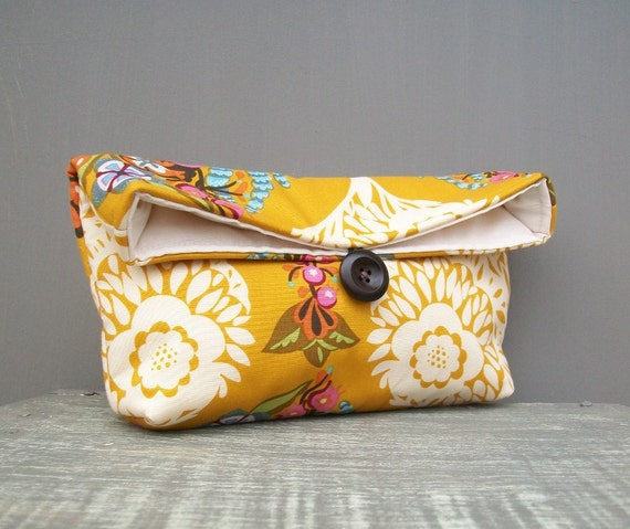 Mustard Clutch Ivory Pink Green Plum Floral Spring Wedding