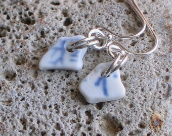 Natural Sea Beach Pottery Porcelain Sterling Silver Earrings (531)