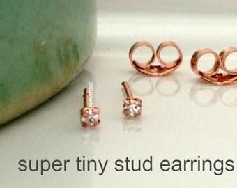 Super tiny diamond stud earrings for men, men's stud earrings, cartilage earring, helix stud earring, tiny stud earrings, 1.5mm studs,  421E