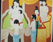 Beauty Serve Bathing - Erotic Village Folk Art Painting 10x10 inches