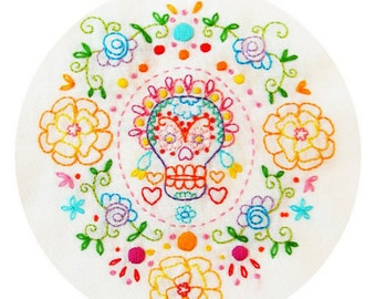 Marigold Sugar Skull Embroidery Pattern PDF