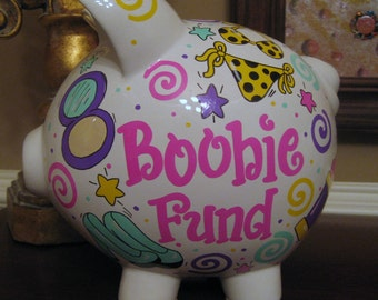 Boobie Fund-Personalized Piggy Bank-Large
