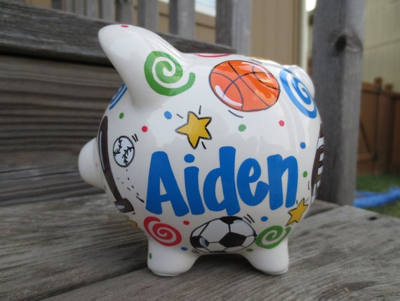 Mini personalized sports piggy bank by jdavissquared on etsy for Mini piggy banks